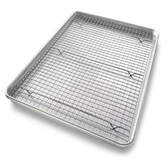 The USA Baking Pan/Rack Set is a must have for any baker. This set features an extra large sheet pan and a cooling rack. Oven safe up to Fahrenheit, this pan/rack features a non stick coating for easy clean up. Baking Sheet, Baking Pans, Baking Utensils, Kitchen Utensils, Half Sheet Pan, Pan Rack, Cooling Racks, Dishwasher Soap, Silicone Baking Mat