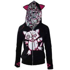 Evil Clothing Reversible V Kitty Hood