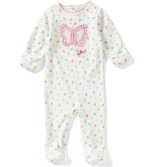 Starting Out Baby Girls Newborn-6 Months Butterfly Footed Coverall (€15) ❤ liked on Polyvore featuring babies, butterflies, dillard's and snap