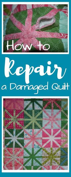 Sometimes quilt seams fray or holes are created, read through this tutorial for all the steps to repair all types of quilt damage.#damagedquilt #quiltrepair #sewingrepair Sewing Patterns Free, Free Sewing, Sewing Tips, Sewing Hacks, Sewing Tutorials, Quilting Tools, Quilting Tutorials, Quilting Projects, Sewing Projects For Beginners