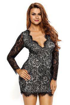Black Lace Nude Mini Dress LAVELIQ