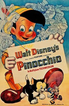 "Old Disney movie poster of ""Pinocchio""."