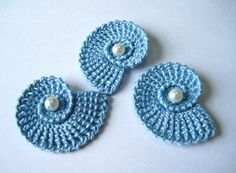 Crochet Sea Shells Applique with Pearls in Light Blue. $3.60, via Etsy.