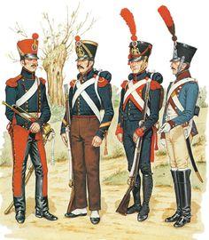 """FRANCE -  Artillery -""""• Trumpeter, Horse Artillery, Peninsular War • Sergeant, Foot Artillery, campaign dress, 1809 • Artificer, Foot Artillery, 1809 • Driver, Train des Equipages, 1811"""", Bryan Fosten"""