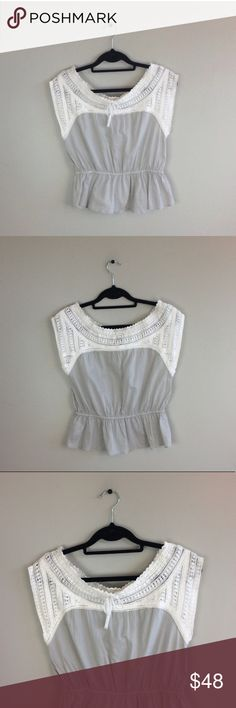 """Anthro HD In Paris Dove Wings Crochet Peplum Top No pilling, stains or holes. Retails 88$ but sold out online. 100% cotton. 22"""" length: 17"""" pit to pit: no trades. Anthropologie Tops Blouses"""