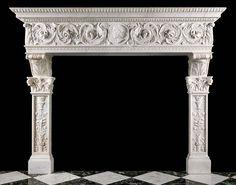 Antique Renaissance Statuary Marble Fireplace Mantel