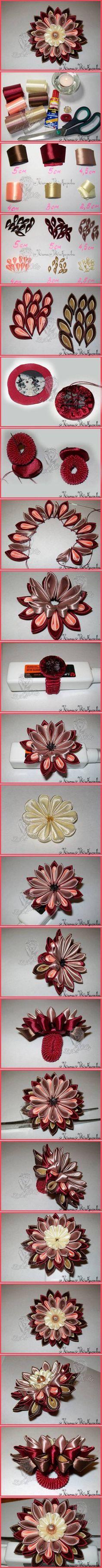 DIY Beautiful Kanzashi Ribbon Flower | www.FabArtDIY.com LIKE Us on Facebook == https://www.facebook.com/FabArtDIY