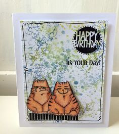 pensil colored birthday card with stamp for All & Create
