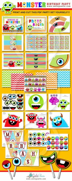 Sale-Monster Bash BIRTHDAY Party Printable Package by OwliePowlie