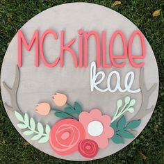 Baby Names Discover creatinghappyness shared a new photo on Etsy 24 Diameter Floral Antlers Sign Woodland Nursery