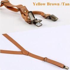 Wedding Suspender.Brown Leather Suspenders.2 cm width.Mens