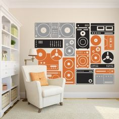 Turn Up The Music Stereo Boombox, Speakers, and Music Equipment - Vinyl Wall Art Decal for Kids Rooms, Preschools, Kindergartens, Elementary Schools, High Schools, Colleges, Music Studios, Homes