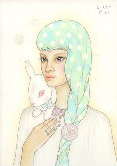 lillypiri: trois lièvres / Drei Hasenby Lilly crayon de PiriColour sur papier Arches. Disponible à l'achat. Ce sérum Exposée à Melbourne po ...