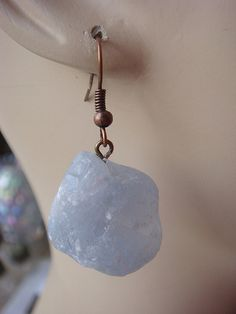 Pale Blue Natural Celestite Stone Earrings by NakiaDesign on Etsy, $19.99