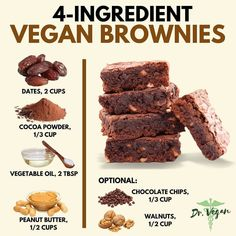 Always up for a different brownie recipe ! Sweet Recipes, Whole Food Recipes, Dessert Recipes, Vegan Brownie, Brownie Recipes, Healthy Baking, Healthy Desserts, Healthy Tips, Delicious Vegan Recipes
