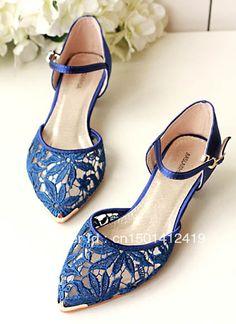 Aliexpress.com : Buy Royal Blue More Colors Available Round Toe Rhinestone Decoration Fashion Satin Wedding Bridal Flats from Reliable weddi...