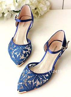 2013 Summer New Pointy Toe Royal Blue Lace Upper Low Heel 3 cm Elegant Women Wedding Shoes-inPumps from Shoes on Aliexpress.com