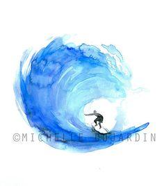 Peinture de surf giclee print-golf par Zendrawing sur Etsy