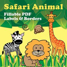 Safari Animal fillable PDF labels & borders. Organize your files and create posters with adorable giraffe, zebra, lion, and monkey fillable borders and labels! Each animal theme is an original design and includes small mailing labels (Avery 5160), larger labels (Avery 5963), and full-page borders with fillable text and speech bubbles! $