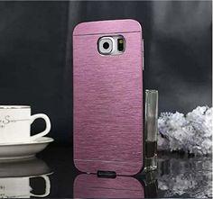 Coque Galaxy S6 Edge, Coque de protection aluminium + PC, Métal rose effet brossé, silver, coque S6 edge métal, Motomo