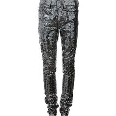 Saint Laurent sequin embellished skinny trousers ($1,490) ❤ liked on Polyvore featuring pants, black, print skinny pants, skinny trousers, skinny fit pants, low rise pants and sequin skinny pants