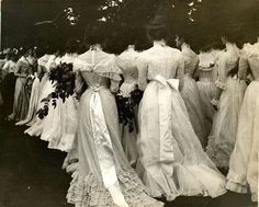 "This is not a wedding! ""Class Day on the Lawn"" Vassar College 1895. Instead, these beautifully dressed young women are celebrating Senior Day carrying huge floral bouquets. They look wonderful!"