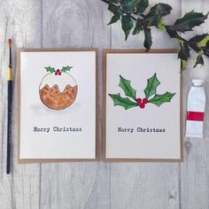 Pack of 6 hand painted watercolour Christmas pudding and