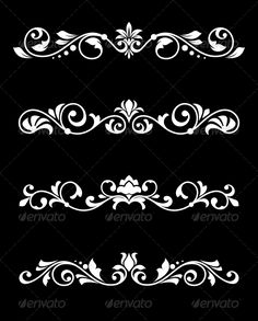 Buy Retro Borders and Dividers in Floral Style by VectorTradition on GraphicRiver. Set of retro borders and dividers in floral style. Editable (you can use any of your vector program) and JPEG (c.DOB DOB's media statistics and analyticsSimilar Images Stencil Patterns, Stencil Designs, Design Elements, Design Art, Graphic Design, Molduras Vintage, Estilo Floral, Alpona Design, 3d Cnc