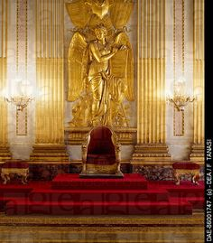 Royal Palace of Caserta , UNESCO World Heritage  , Campania. Italy, 18th_19th century. Detail of Throne Room .