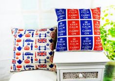 "* 18 "" Home Decorative Ikea Blue Red British Keep Calm and Carry On Linen Cotton Throw Cushion Cover Pillow Case for Sofa Throw Pillow Covers, Pillow Cases, Throw Pillows, Cotton Throws, Cotton Linen, Chevron, Home Textile, Black Cotton, Retro"