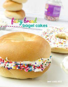 Fairy Bread Bagel Cakes #fairy #fairybread #bagel #sprinkles