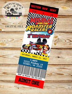 Digital Mickey y el Roadster corredores cumpleaños invitación