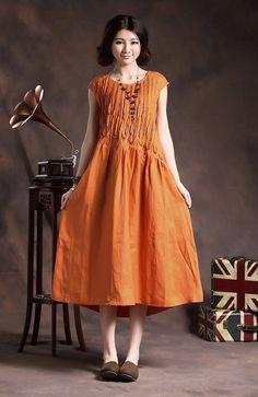 Ruffle Linen Dress in Orange / Long linen sundress / Loose Tunic Dress / Asymmetrical Top, XL,XXL, plus size A8005