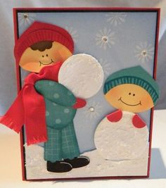 Stampin Up Ornament Punch ~ Kids in the snow