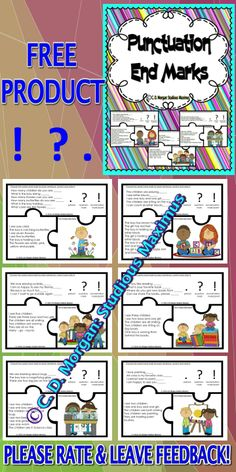 FREE PRODUCT! PLEASE RATE IT! Students work on punctuation, correct use of end marks, all while improving reading skills.