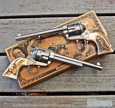 #twofertuesday brought to you by Cimarron's .45 Colt six guns. These stainless steel CFA Model P's are fitted with grips by Buffalo Brothers. Follow our profile link to read more in the Sep/Oct 2016 40th anniversary issue of American Handgunner. ---------- #americanhandgunner #igmilitia #secondamendment #righttobeararms #gunstagram #gunsofinstagram #sixgun #45