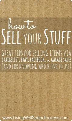 #DIY Tips – How To Sell Your Stuff Online and Off #frugal