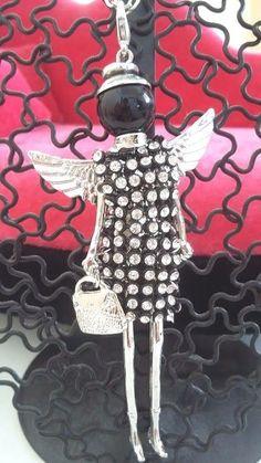 Collier poupée cristal Swarovski noir