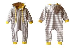 Baby romper with hood  baby overall  striped grey white  by EcoEmi