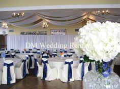 Navy blue chair sashes