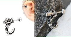 316L Stainless Steel Curved Snake Cartilage Earring