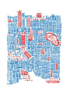 A two colour screen printed map of Hong Kong created for a private client.