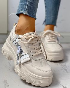 PU Platform Lace-Up Casual Sneakers – Jartini sneakers fashion women women's work sneakers women sneakers outfit sport shoes women sport sneakers women sneakers casual Best Sneakers, Casual Sneakers, Sneakers Fashion, Casual Shoes, Fashion Shoes, Sneakers Style, Cool Womens Sneakers, Casual Chic, Casual Man