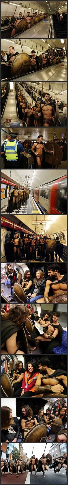 Best 300 Cosplay ever, in the London Tube