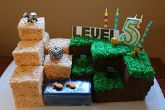 Minecraft Birthday Cake with Rice Krispies
