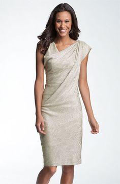 $60 Maggy London Asymmetrical Drape Foil Knit Sheath Dress | Nordstrom