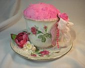 Decorative Altered Teacup Pin Cushion  Vintage Shabby Chic Style Pink & White - Roses