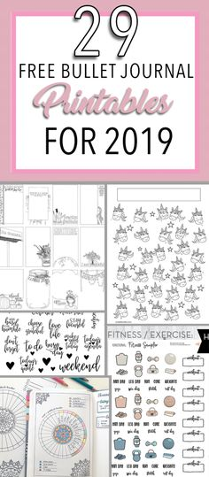 29 Free Bullet Journal Printables for 2019! The best free printables for your planner, journal and bullet journal.