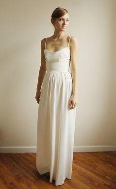 Ellie Long --2 Piece, Lace and Cotton Wedding Dress. $1,250.00, via Etsy.