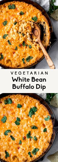 Delicious vegetarian white bean buffalo dip baked to perfection with fiber and protein-packed white beans, three types of cheeses and your favorite buffalo sauce for the ultimate party or game day app Tasty Vegetarian Recipes, Veggie Recipes, Vegan Vegetarian, Appetizer Recipes, Cooking Recipes, Healthy Recipes, Meat Appetizers, Veggie Food, Kitchen Recipes